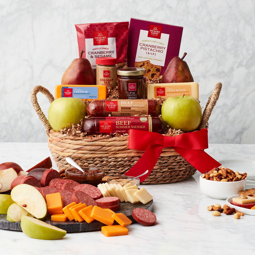 This delicious gift is no ordinary fruit basket! Any fruit and snack lover will love to unwrap this fresh basket.