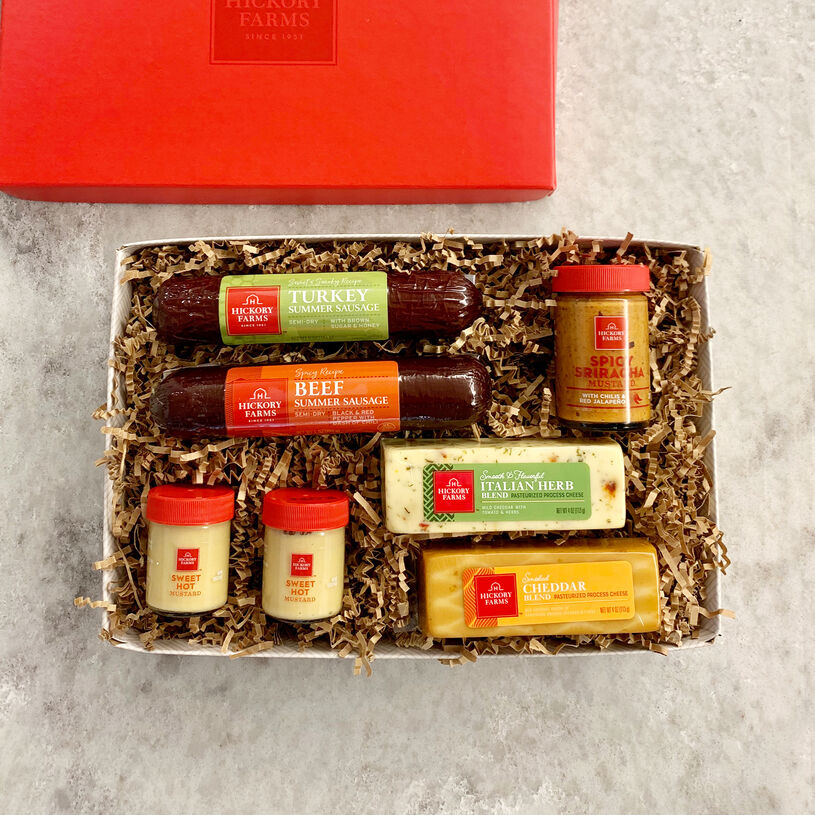Stack up spicy, smoky, and savory bites with this meat and cheese gift box!