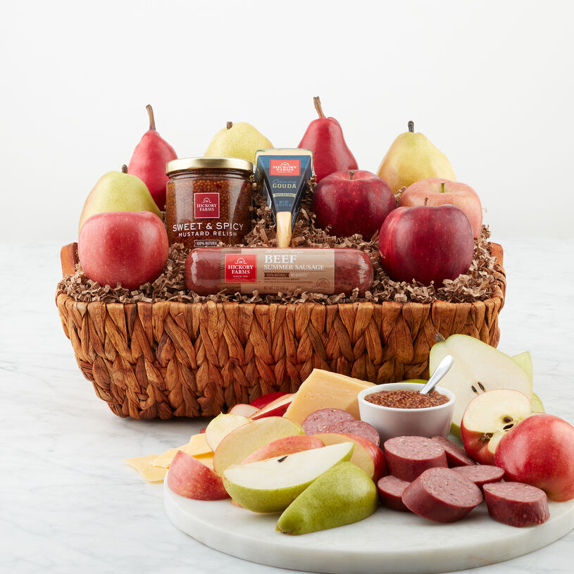 Harvest Favorites Basket includes all natural sausage, cheese, mustard, and fruit