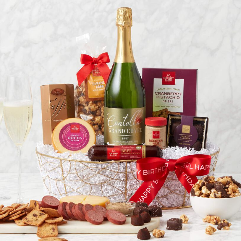 Celebrate their special day with this gourmet birthday wine gift basket delivered right to their door!