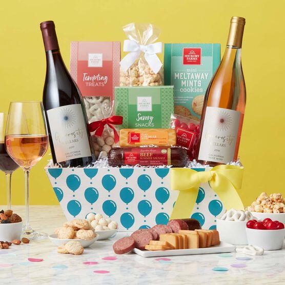 Birthday Premium Treats and Wine Gift Basket Yellow Backdrop