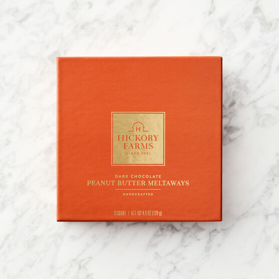 Dark Chocolate Peanut Butter Meltaways Orange Box Lid