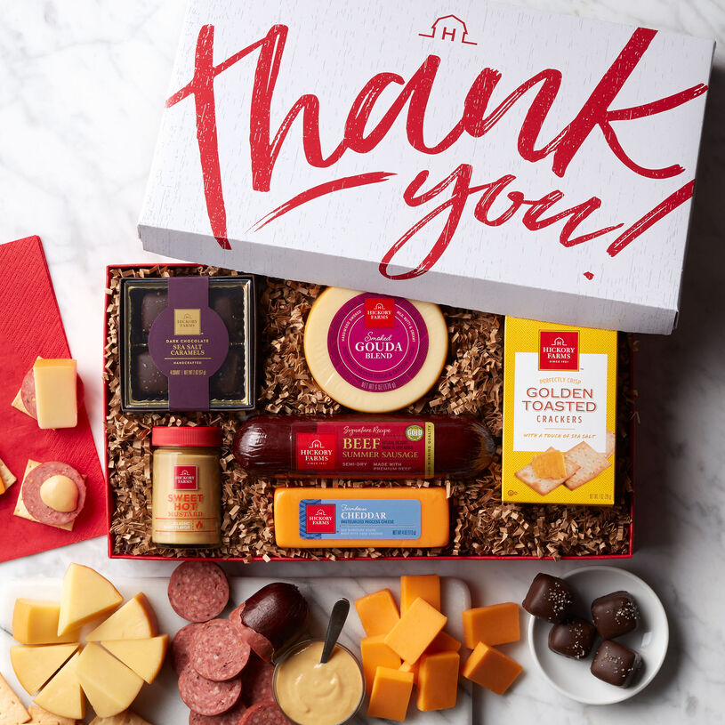Say thank you with a gift that has both sweet and savory flavors! Presented in a signature designed thank you box, this is a gift that anyone would love to unwrap!