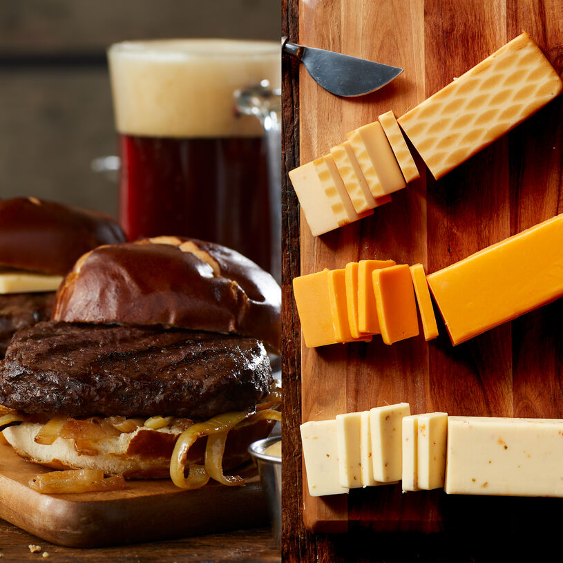 This kit includes our gourmet Prime burger and three cheeses for a tasty burger right at home.