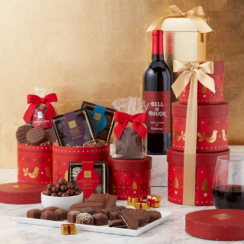 Signature Chocolates, Sea Salt Caramels, Brownie Bites, Chocolate Covered Grahams, Sandwich Cookies, and wine