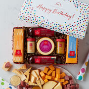 Birthday Summer Sausage and Cheese Gift Box with colorful confetti lid