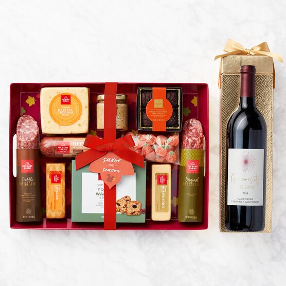 Autumn Entertaining Gift Set with Wine Box with Wine
