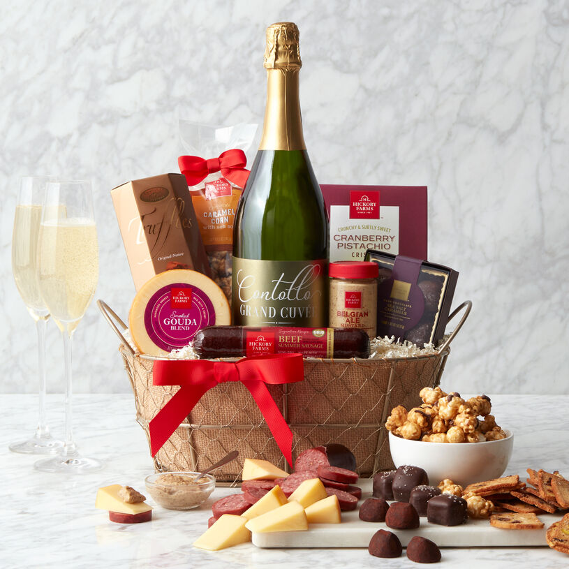 Celebrate a birthday, milestone, accomplishment, or special occasion with this gourmet sparkling wine gift basket delivered right to their door!