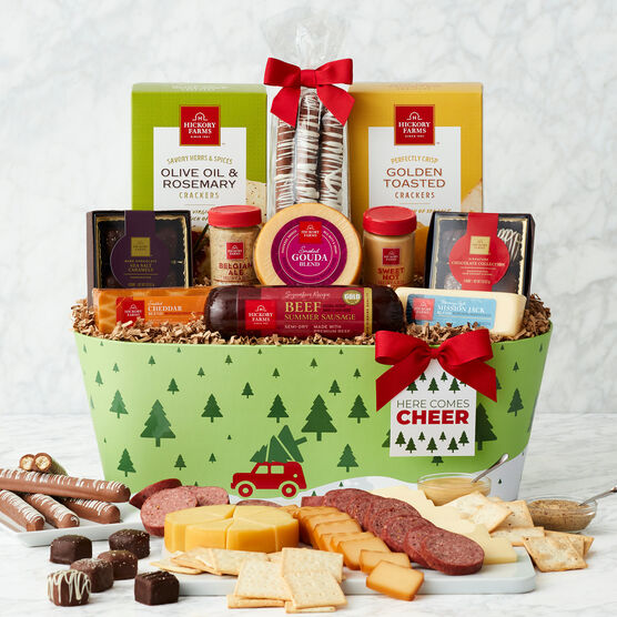 Here Comes Cheer Holiday Gift Basket White Background