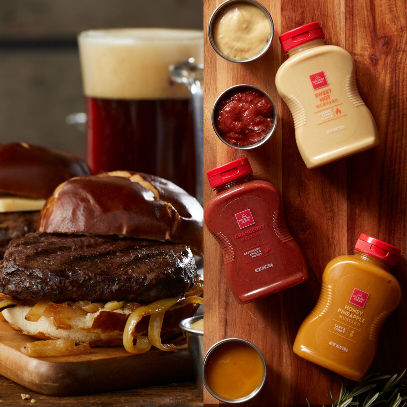 This assortment includes our gourmet Prime Burgers and three of our famous mustards - Cranberry Mustard, Honey & Pineapple Mustard, and Sweet Hot Mustard