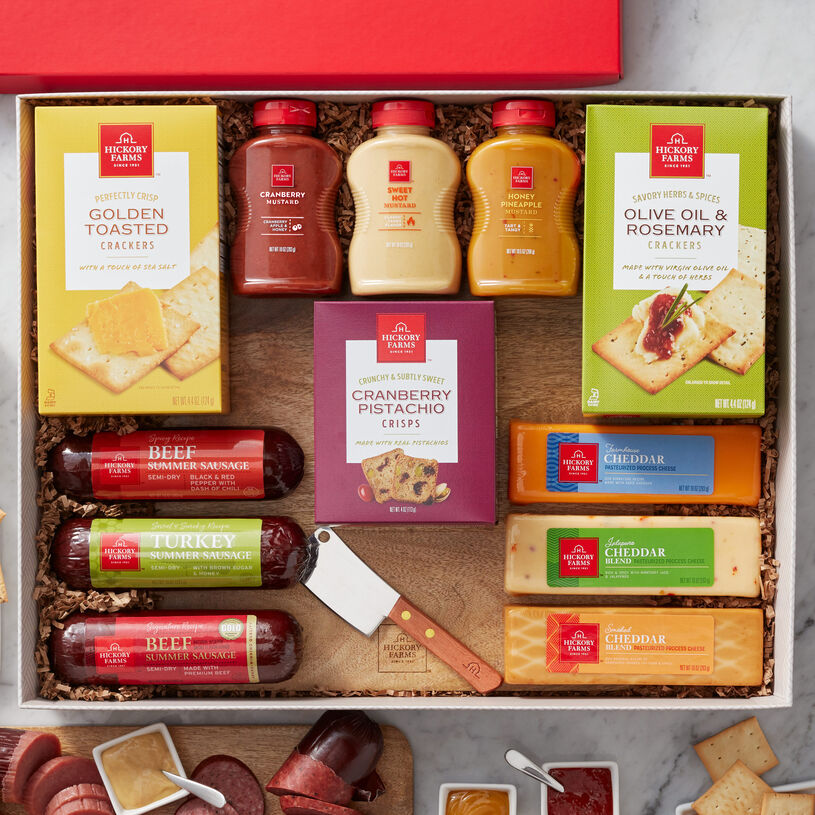 It includes four full-size flights of all of our most-loved signature flavors, plus a serving board and knife, so they'll have everything they'll need to create a savory charcuterie board.