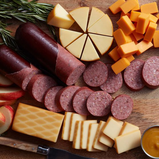 Happy Holidays Summer Sausage & Cheese Gift Box Charcuterie Spread