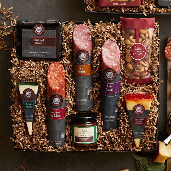 Arrange on a cheese board with your favorite crackers and enjoy! This box makes a wonderful gift for anyone who loves a delicious charcuterie spread.