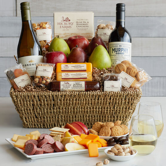 Holiday Celebration Gift Basket includes sausage, cheese, mixed nuts, and dried fruit