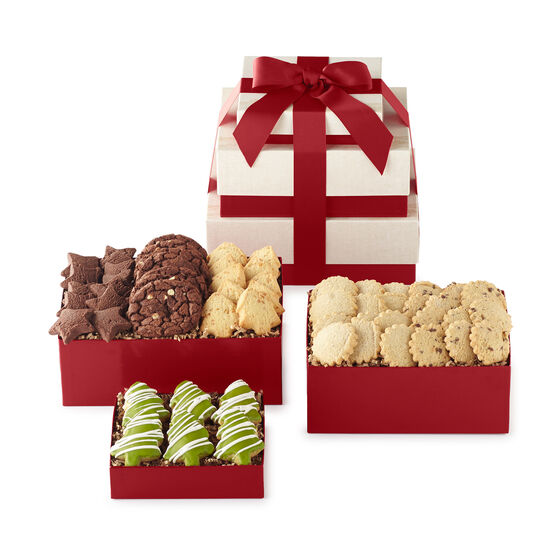 Holiday Flavors Tower includes a variety of cookies