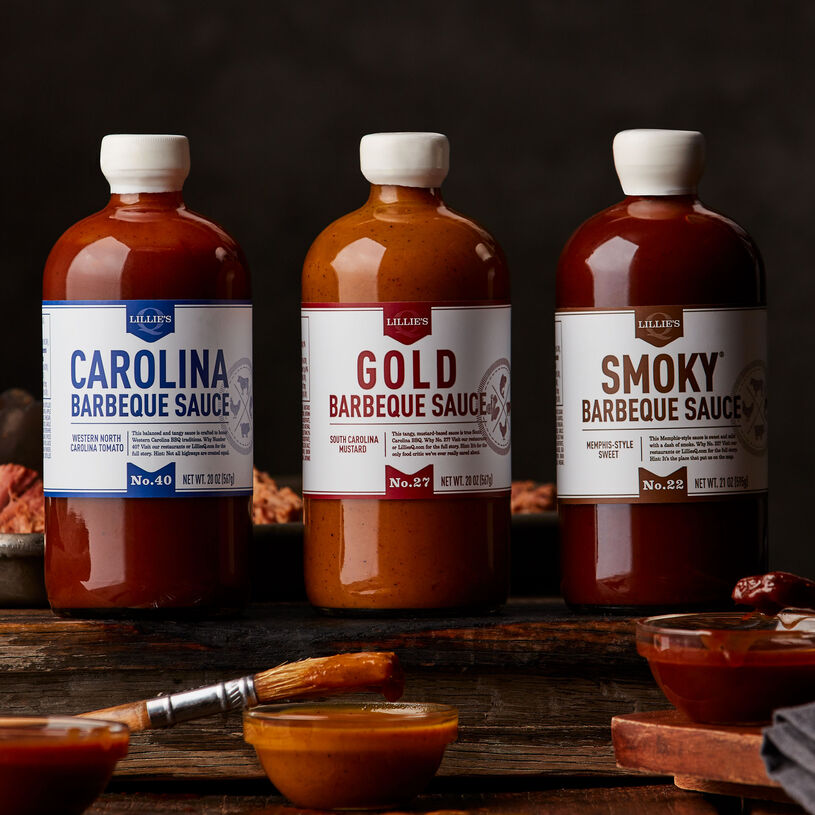This flight comes with South Carolina mustard-style Gold Barbeque Sauce, tangy Carolina sauce, and Memphis-style sweet Smoky Barbeque Sauce.