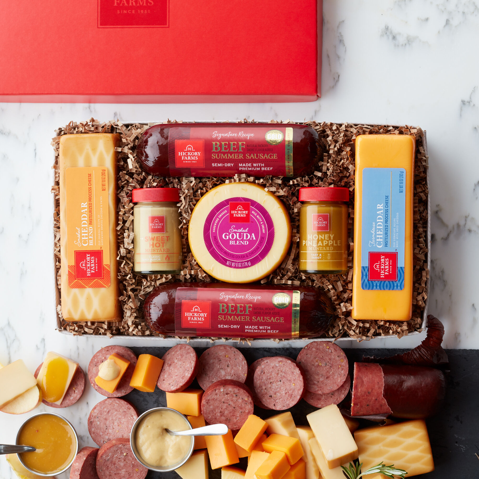 Our best-selling gift box includes mustard summer sausage and various cheeses & Meat and Cheese Gift Baskets | Hickory Farms