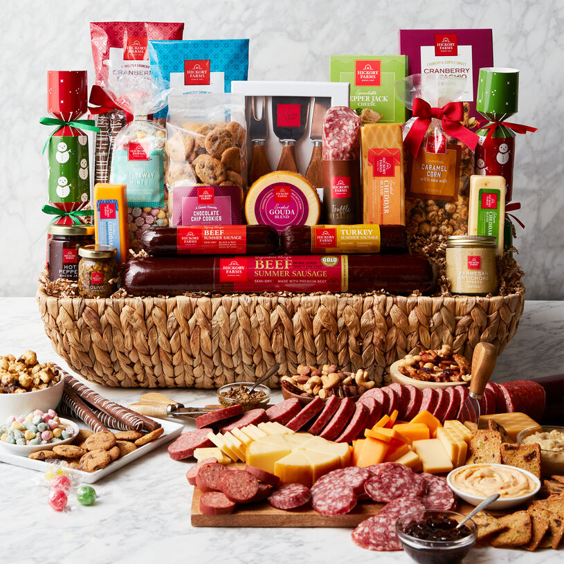 This meat and cheese gift is the ultimate charcuterie party! Send the perfect party experience with this delicious gift!