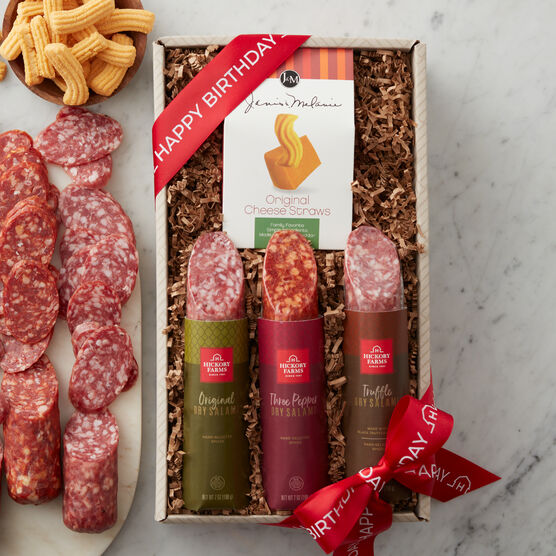 his flight includes a sampling of all three flavors: Original Dry Salami, Truffle Dry Salami, and Three Pepper Dry Salami, made with spicy white pepper, cayenne, and crushed red pepper.