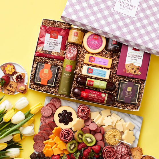 Spring Charcuterie & Chocolate Gift Box Charcuterie Spread Yellow Background