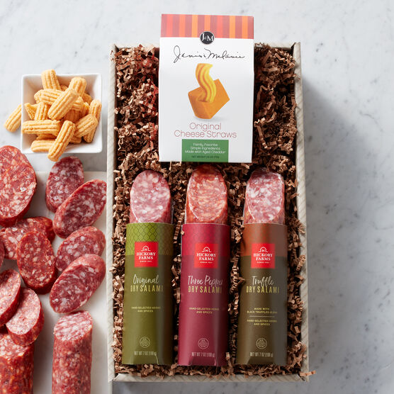 This gift box includes one Dry Salami, one Black Truffle Salami, and one Three Pepper Salami