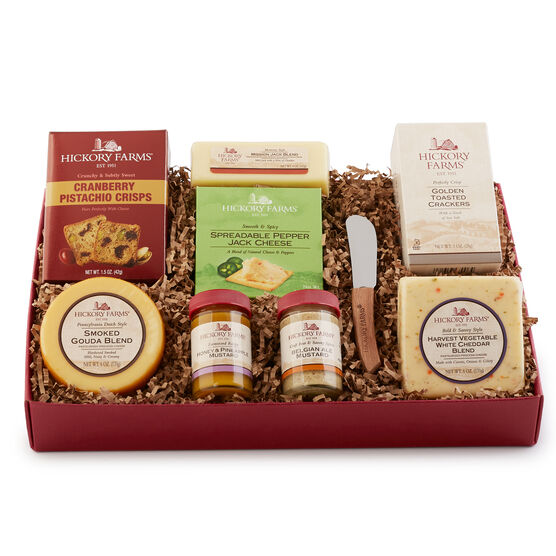 This gift box is a wonderful sampling of our cheeses, mustards, and cranberry pistachio crisps