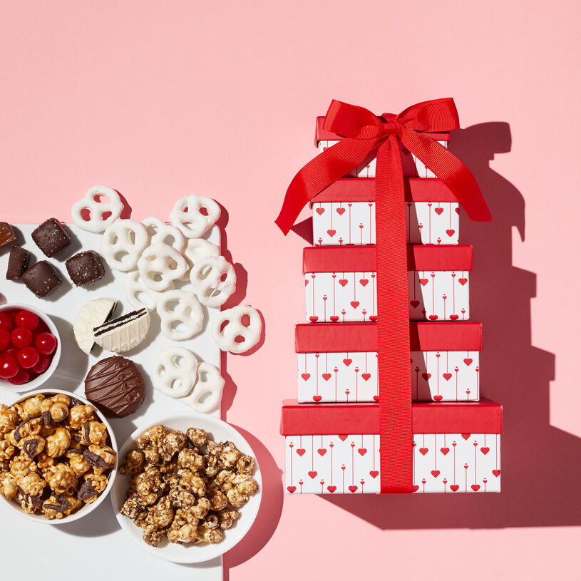 This Valentine's Day gift includes Dark Chocolate Sea Salt Caramels, White Chocolate Pretzels, Popcorn, Chocolate Covered Sandwich Cookie, and Cherry Sours.