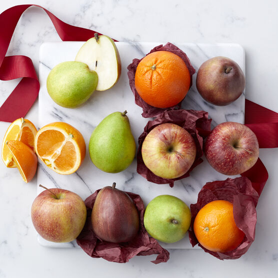 Fresh Fruit Medley includes oranges, pears, and apples