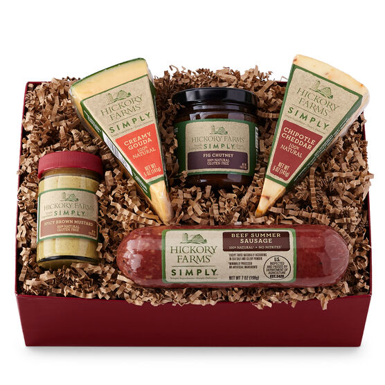 Simply Duo Gift Box includes natural summer sausage, cheeses, mustard, and fig chutney