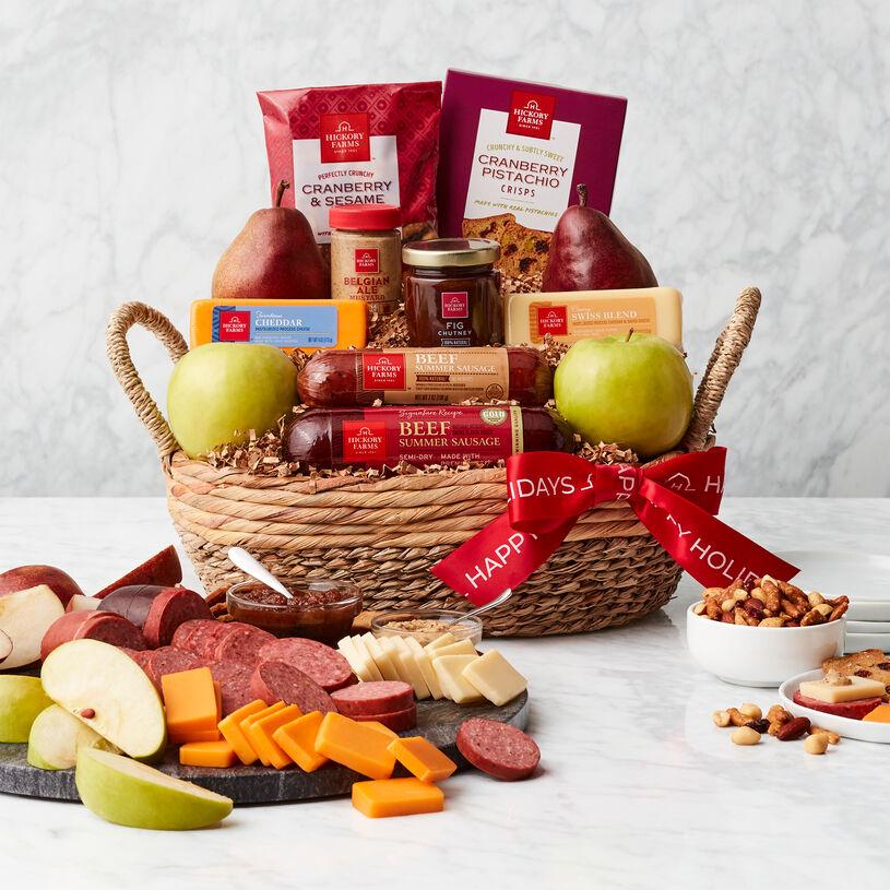 Happy Holidays Premium Fruit & Snack Gift Basket