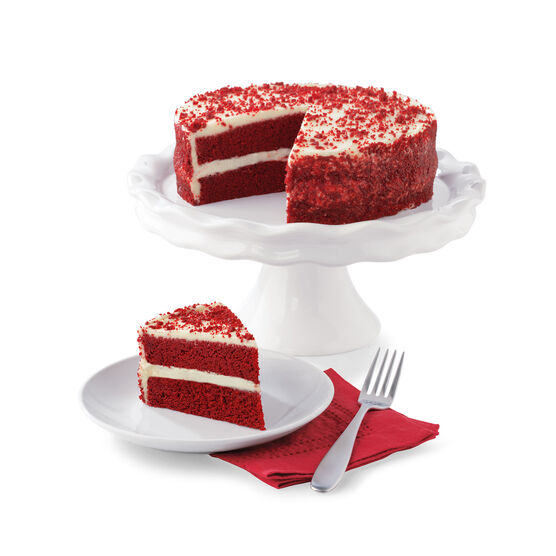 Alternate view of velvety, smooth red velvet cake