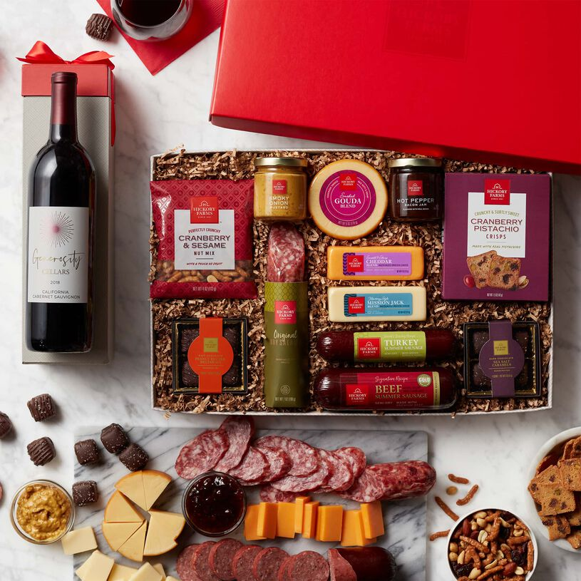 Premium Charcuterie & Chocolate Gift Box with Wine - Lid View