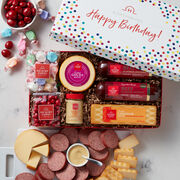This festive confetti box is filled with our Signature Beef Summer Sausage, Smoked Gouda, Smoked Cheddar, Sweet Hot Mustard, plus Salt Water Taffy and hard candies.