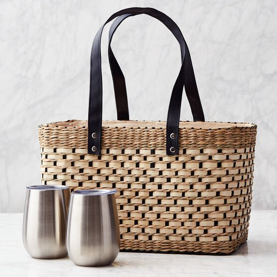 Deluxe Gourmet Picnic Gift Basket - Basket and cups