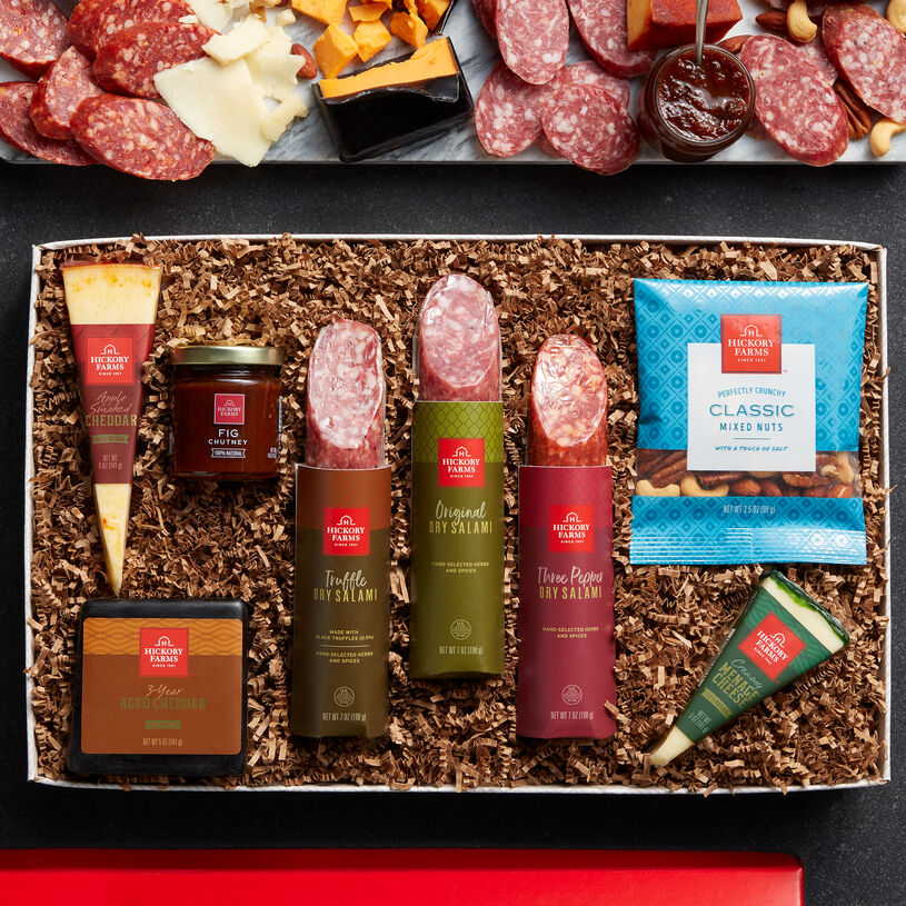 This bountiful box is filled with an assortment of creamy Reserve natural cheeses alongside three different flavors of dry salami.