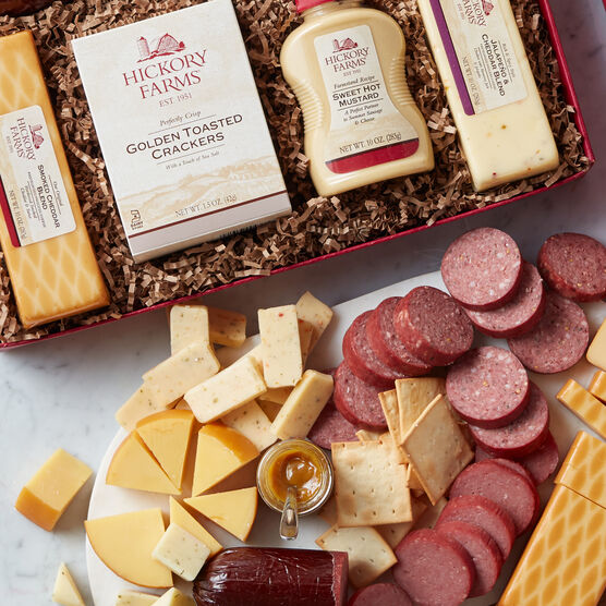 Our best sellers make the best gift! This gift is packed with Hickory Farms favorites.