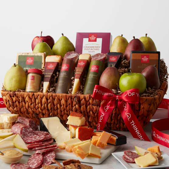 This delicious gift combines our savory favorites with fresh-from-the-orchard fruit. Truffle and Original Dry Salami, Apple Smoked Cheddar, Smoked Garlic Cheddar, Triple Crème, 3-Year Aged Cheddar, and Smoked Pepper Jack all pair perfectly with our famous Sweet Hot Mustard and sweet and crunchy Cranberry Pistachio Crisps.
