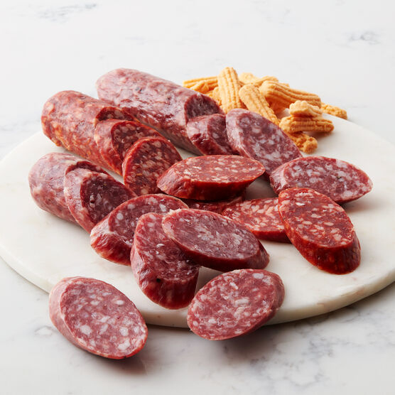 Alternate View of Artisinal Salami Flight. This collection features salami made with hand-selected cuts of pork, old world spices, and aged for over 21 days.