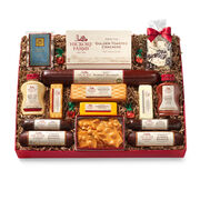 joyful celebration gift box includes a variety of sausage, cheese, mustard, mints, and peanut brittle