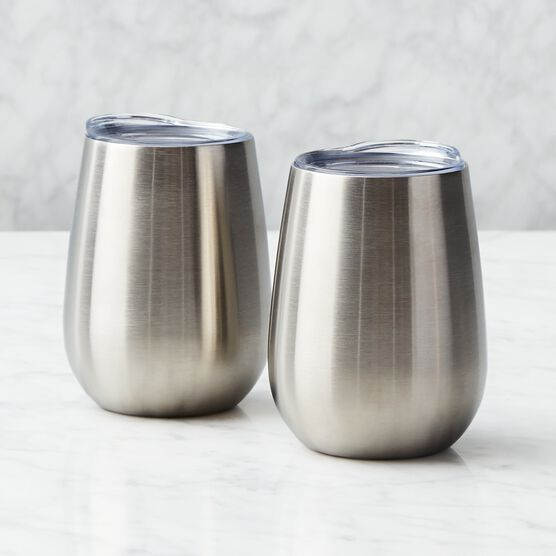 Deluxe Gourmet Picnic Gift Basket - Stainless Steel Silver Insulated Cups