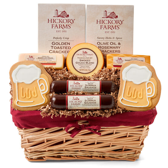 This Father's Day basket includes a variety of cheeses and crackers, our award-winning Beef Summer Sausage, and a beer stein cookie.