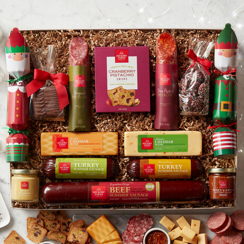 Send a meat and cheese gift box that's perfect for sharing at your biggest holiday party!