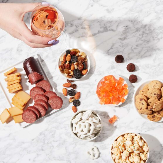 Cheers to You Wine Gift Basket Charcuterie Spread