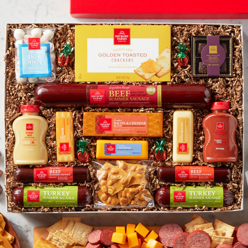 This box is filled with our classic meat and cheese favorites and sweet treats perfect for sharing with family at a holiday celebration.