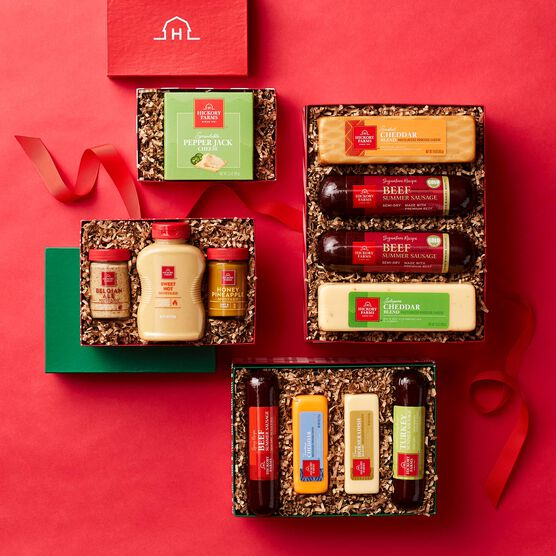 Alternate view of Happy Holidays Gourmet Meat & Cheese Gift Tower on Red Background