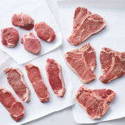 Grand Assortment includes filets, New York Strip Steaks, and Porterhouse steaks - ships frozen and raw