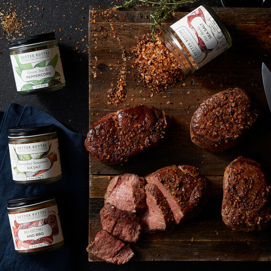 This set includes four of our impossibly tender 6 oz Filets and four gourmet seasonings to add depth of flavor.