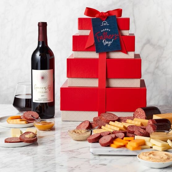 Father's Day Gourmet Meat & Cheese Gift Tower with Wine (Tower)