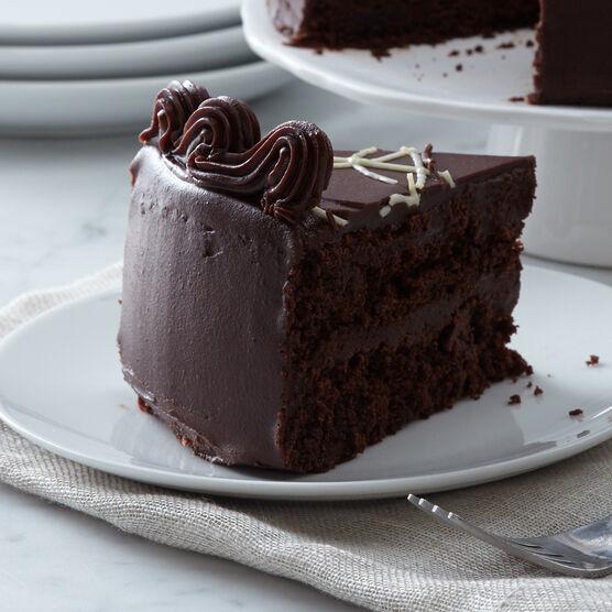 Alternate view of dark chocolate cake layered with fudge