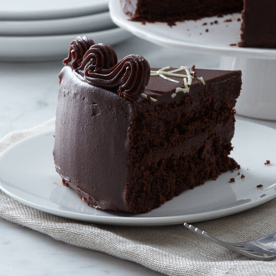 Alternate view of dark chocolate cake layered with fudge